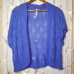 Blue Knit Shrug 3x by NY Collection Woman